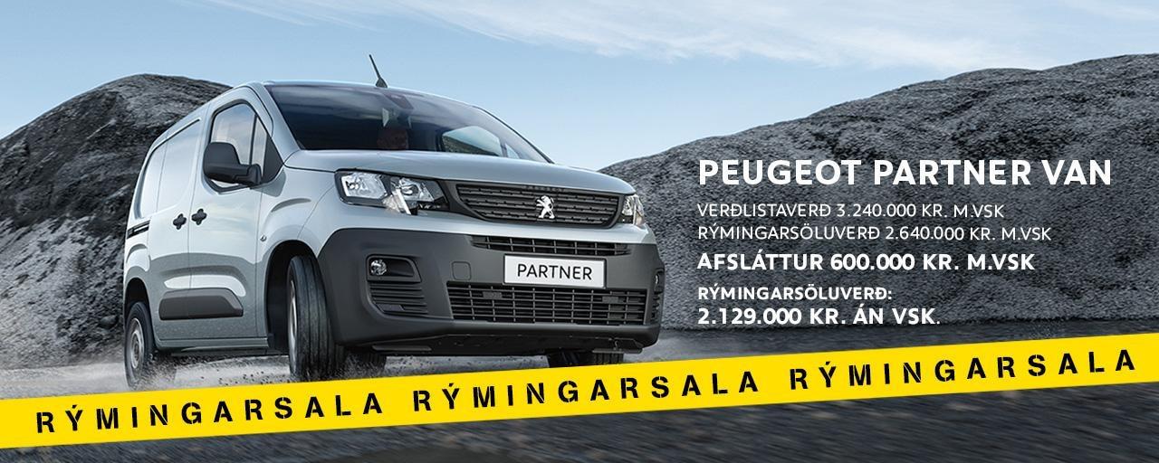 Peugeot Partner rýmingarsala forsida