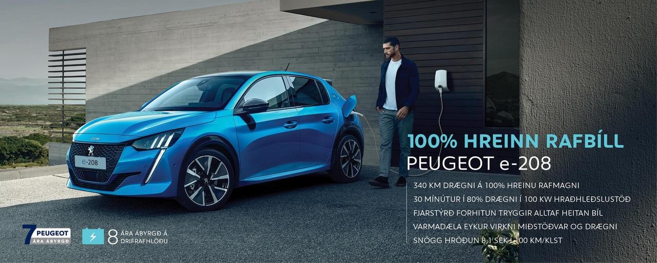 Peugeot e-208 forsíðumynd