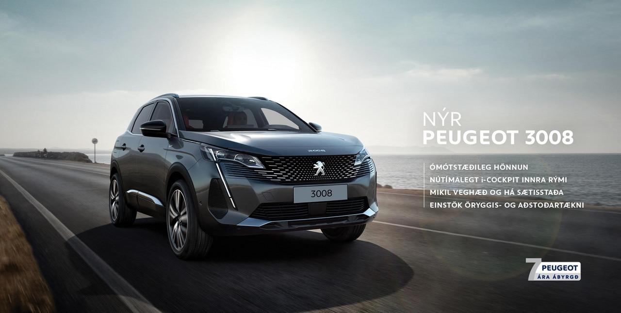 Nýr Peugeot 3008 7 ára ábyrgð og punktar