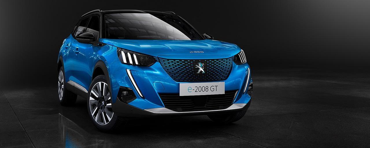 Peugeot e-2008 100% rafbíll blár
