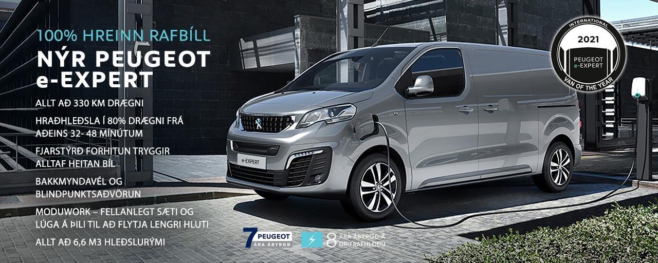 Peugeot e-Expert 100% rafbíll forsíða